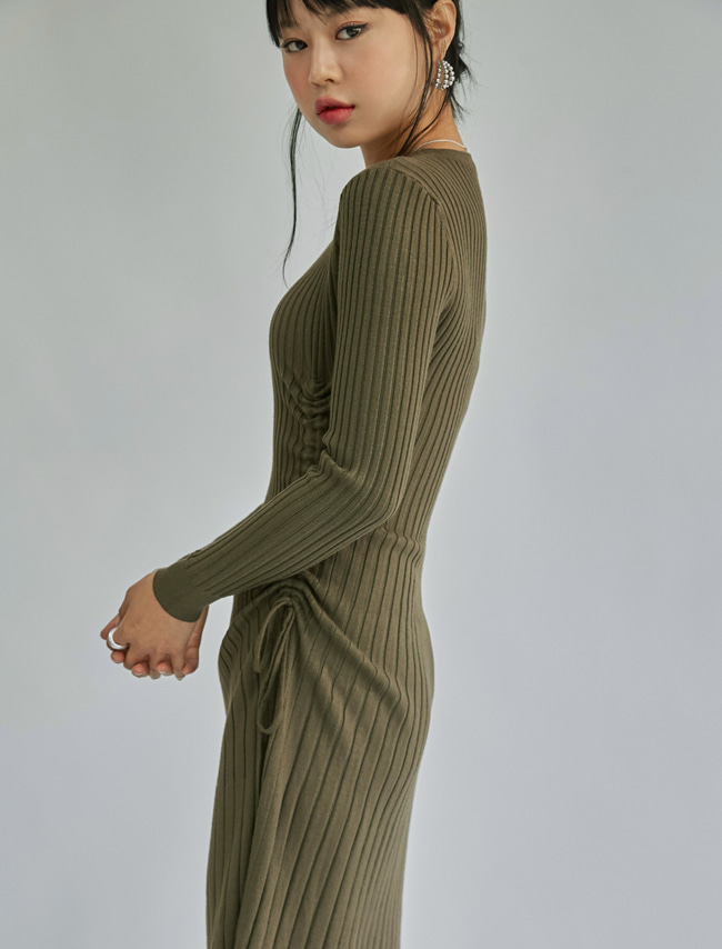Ribbed Shirred Side Dress