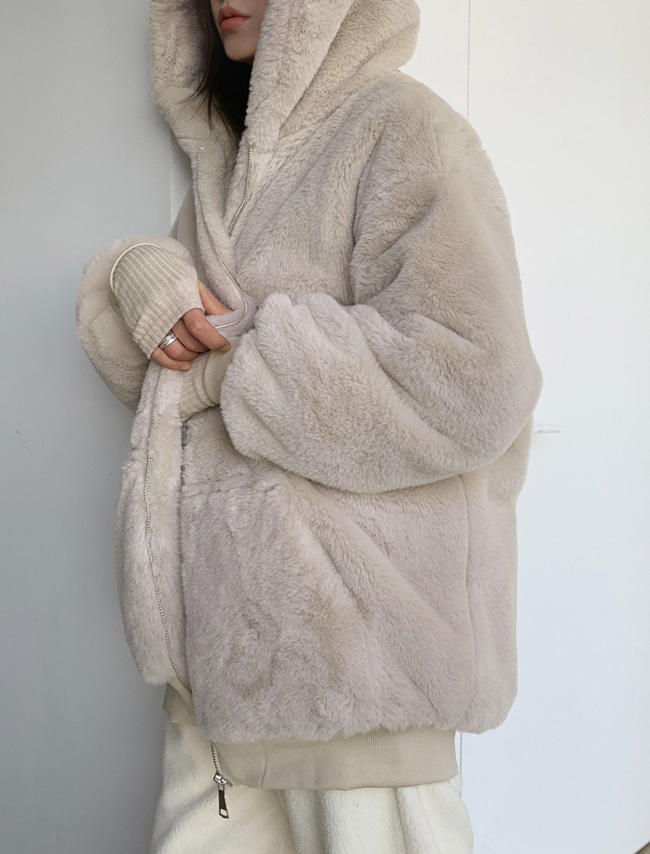 Soft Hooded Fur Jacket