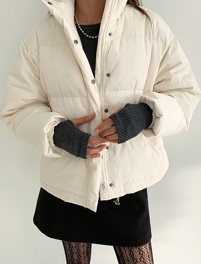 High Neck Solid Tone Padded Jacket
