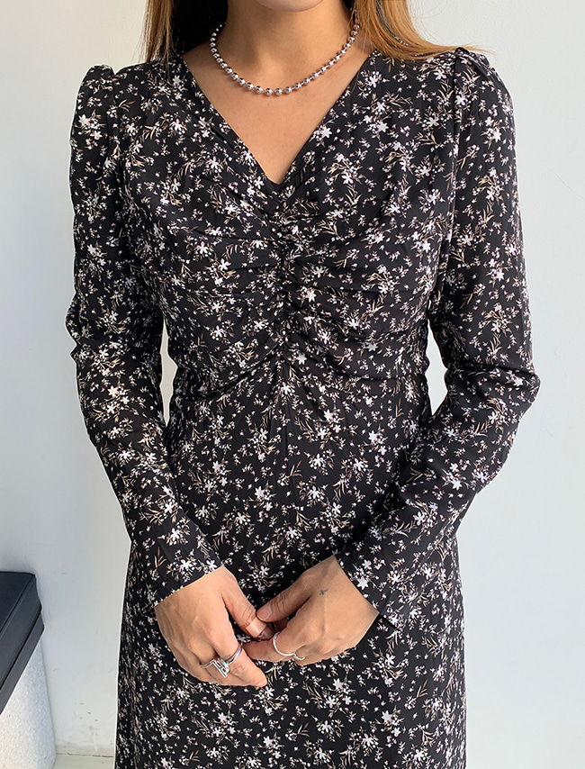 Shirred Floral Fleece Dress