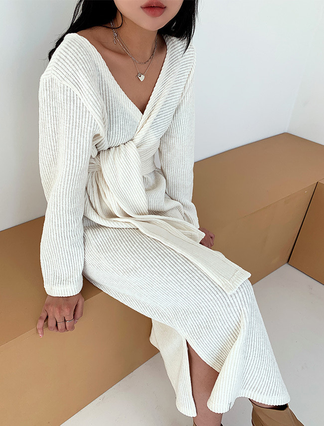 Side Slit Wrap Accent Dress