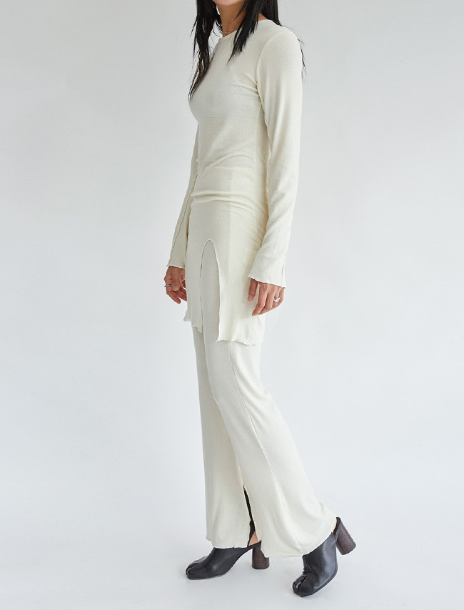 Slit Long Sleeve Top and Pants Set