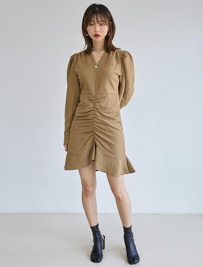Shirred Long-Sleeved Dress