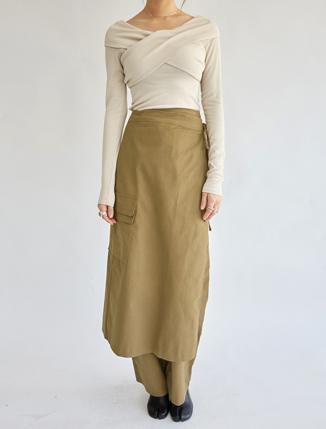 Cotton Layered Wrap Pants
