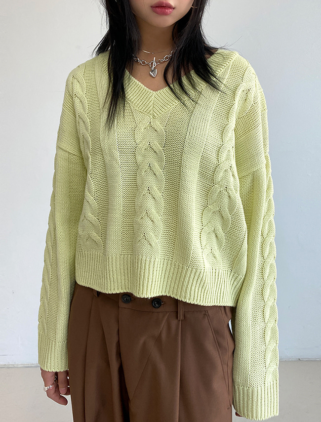 V-Neck Loose Fit Cable Knit Top