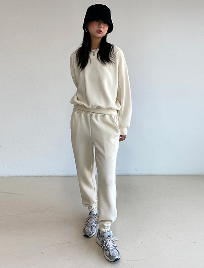 Sweatshirt and Elastic Hem Sweatpants Set