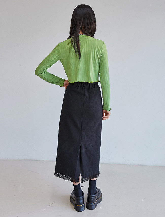Fringe Trim Long Skirt