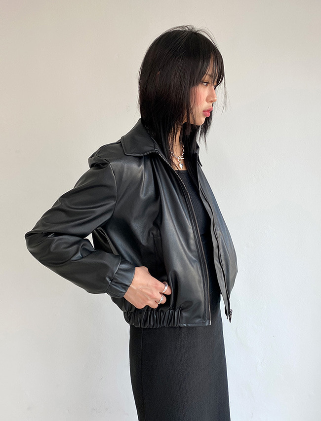 Faux Leather Zip-Up Short Jacket