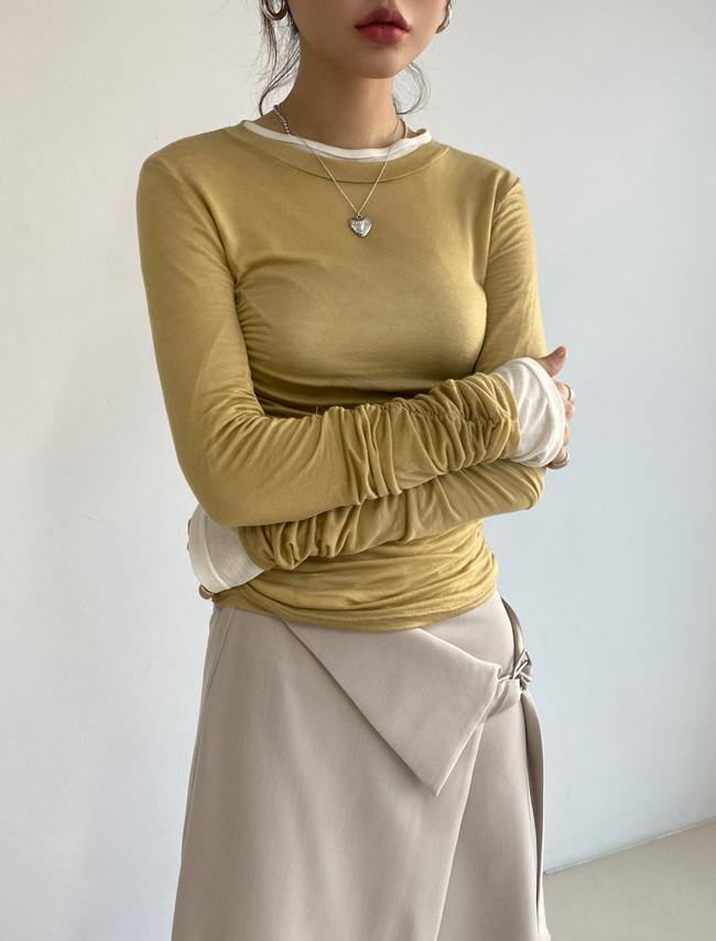 Shirred Long Sleeve Solid Tone Top