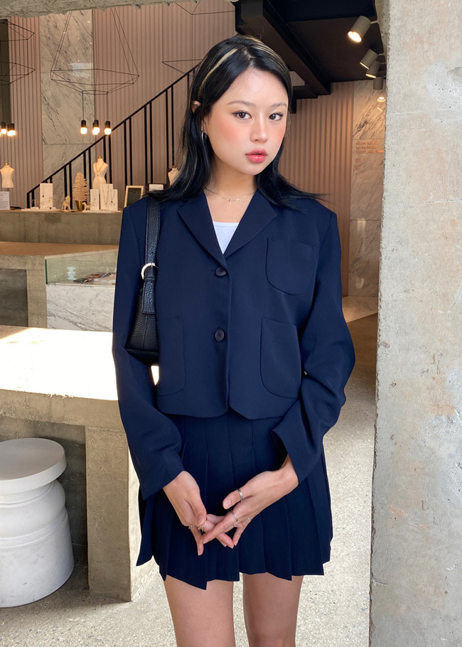 Two-Button Solid Tone Jacket