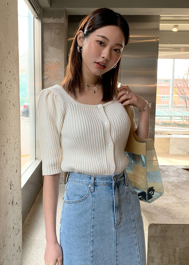 Square Neck Puff Sleeve Knit Top