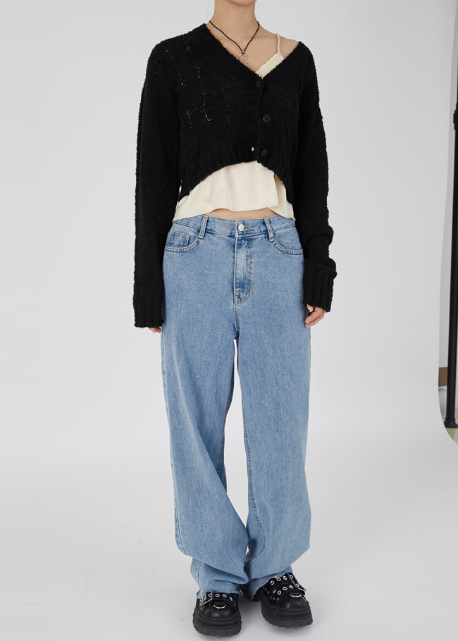 Wide Leg Frayed Jeans