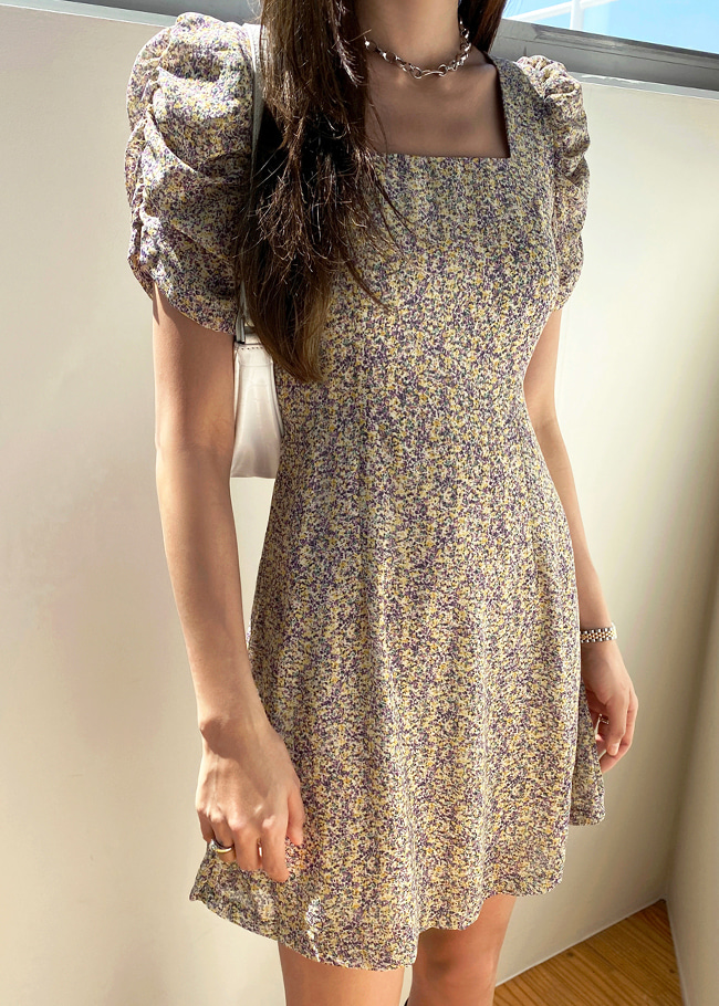Square Neck Shirred Floral Dress