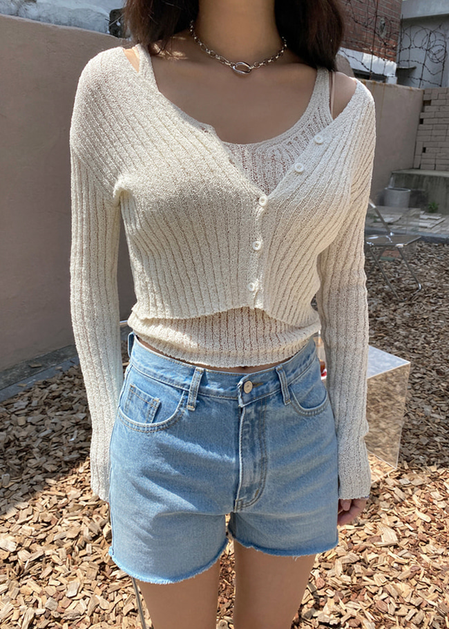 Knit V-Neck Top and Crop Cardigan Set