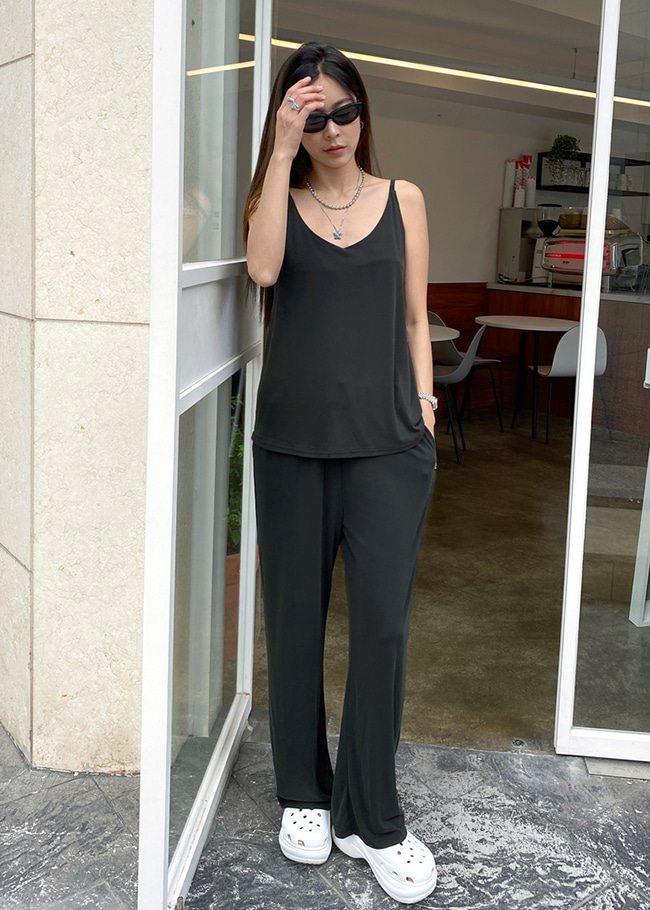 Sleeveless Top and Wide Leg Pants Set