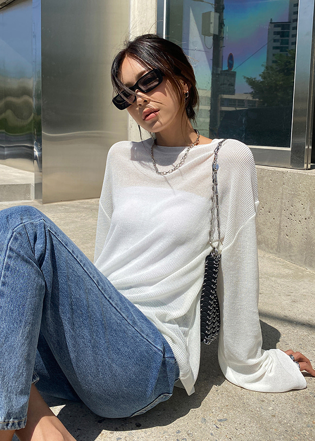 Basic Round Neck Loose Knit Top