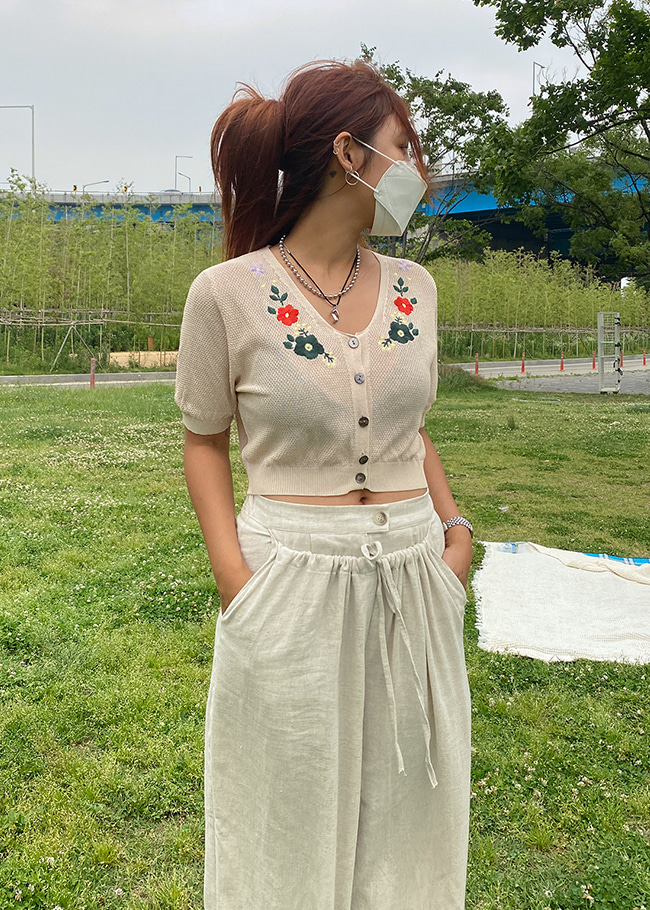 Flower Embroidery Crop Cardigan