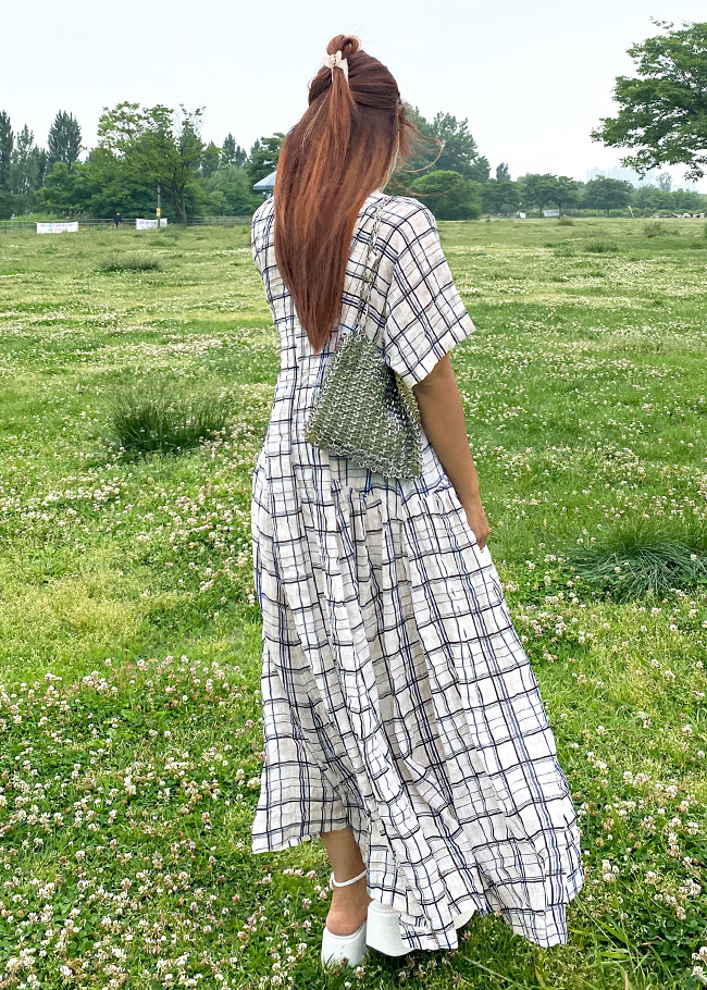 Loose Check Long Dress