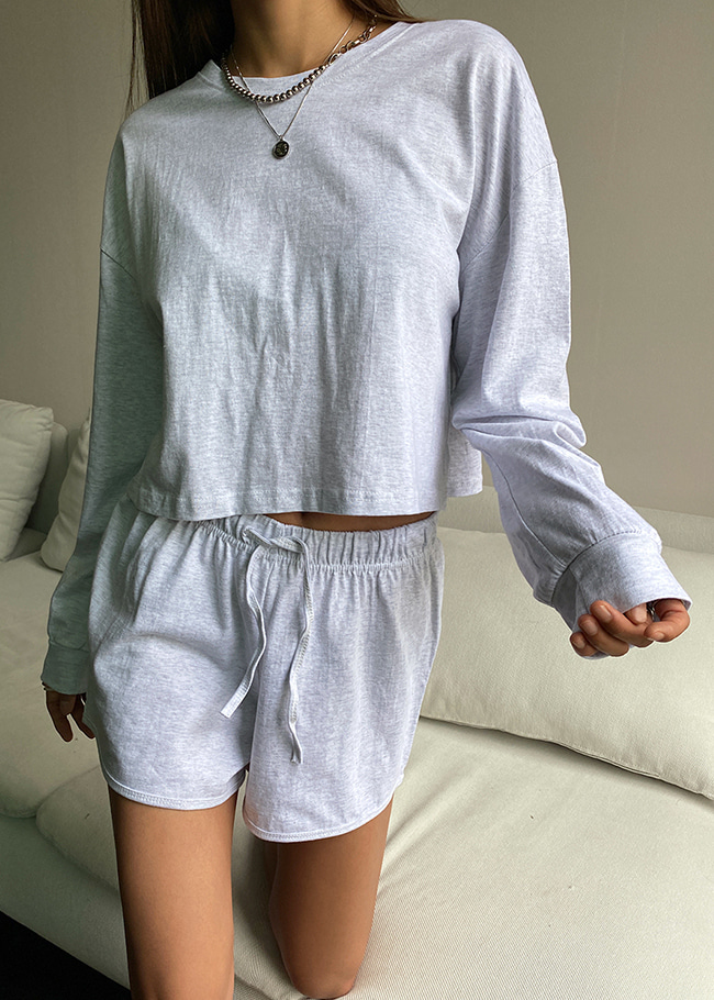 Cotton Boxy Top and Drawstring Shorts Set