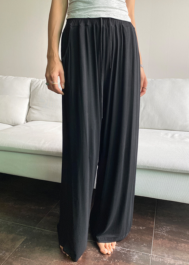 Elastic Band Wide Leg Pants