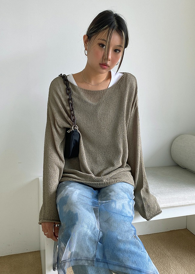 Loose Fit Boat Neck Knit Top