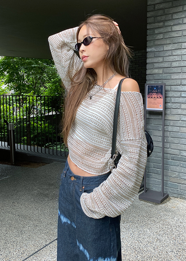 Cover-Up Loose Fit Cropped Knit Top