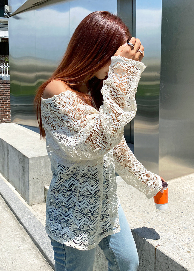Wide Neck Loose Fit Sheer Knit Top