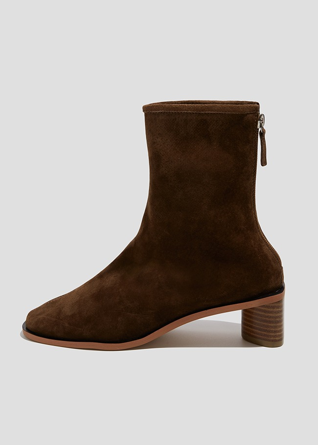 Stacked Heel Back Zip Ankle Boots