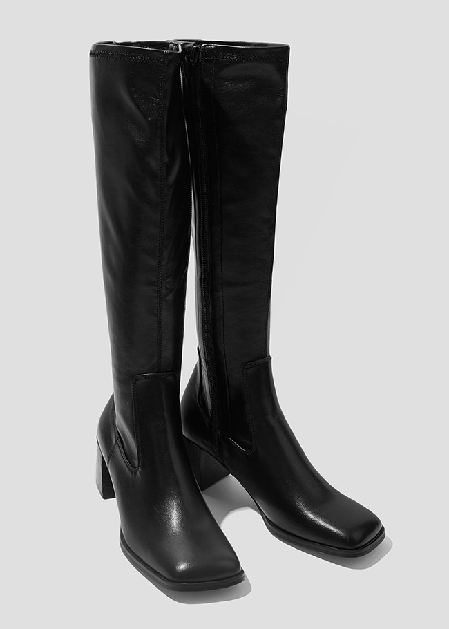 Tall Square Toe Heeled Boots