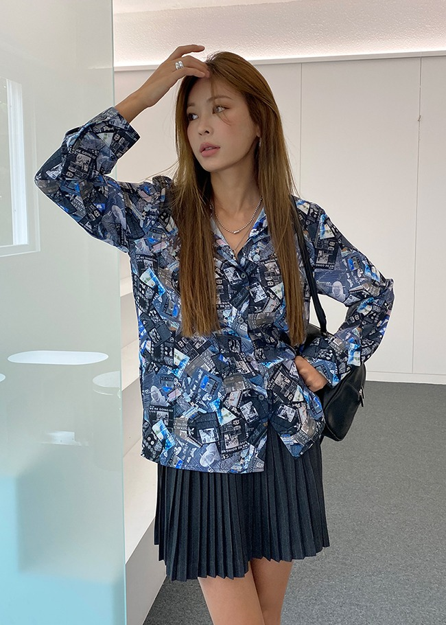 Newsprint Pattern Blouse