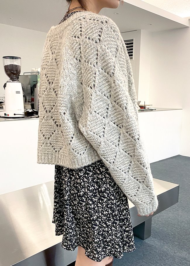 Diamond Eyelet Knit Cardigan