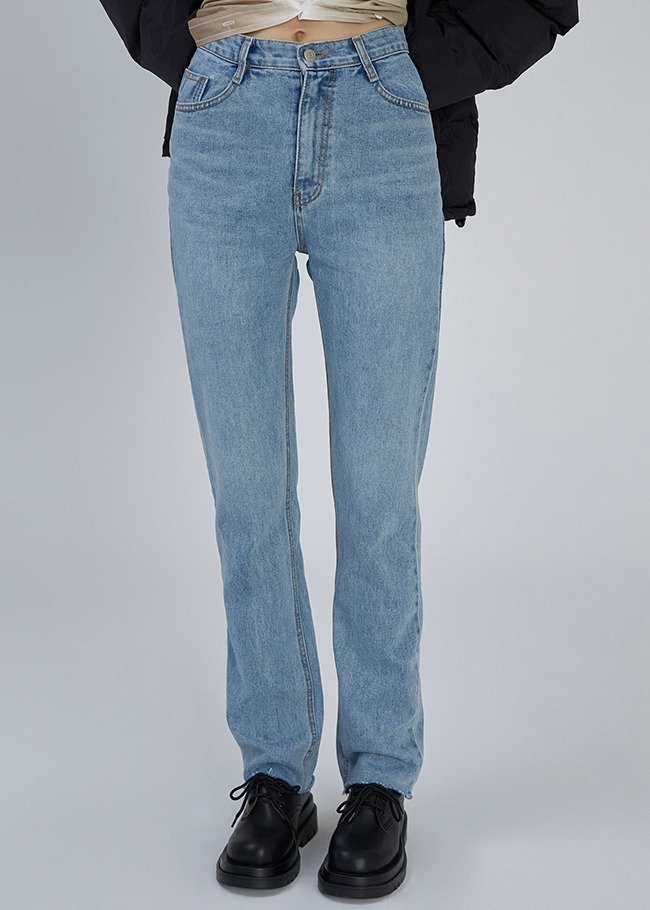 High Waist Light Blue Straight Jeans