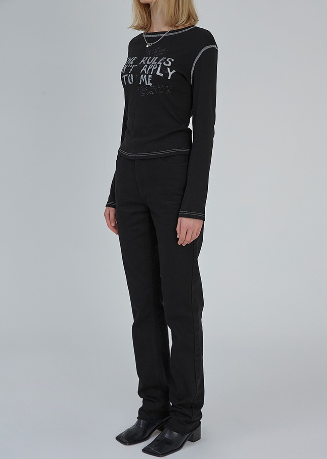 Basic Straight Cut Black Jeans