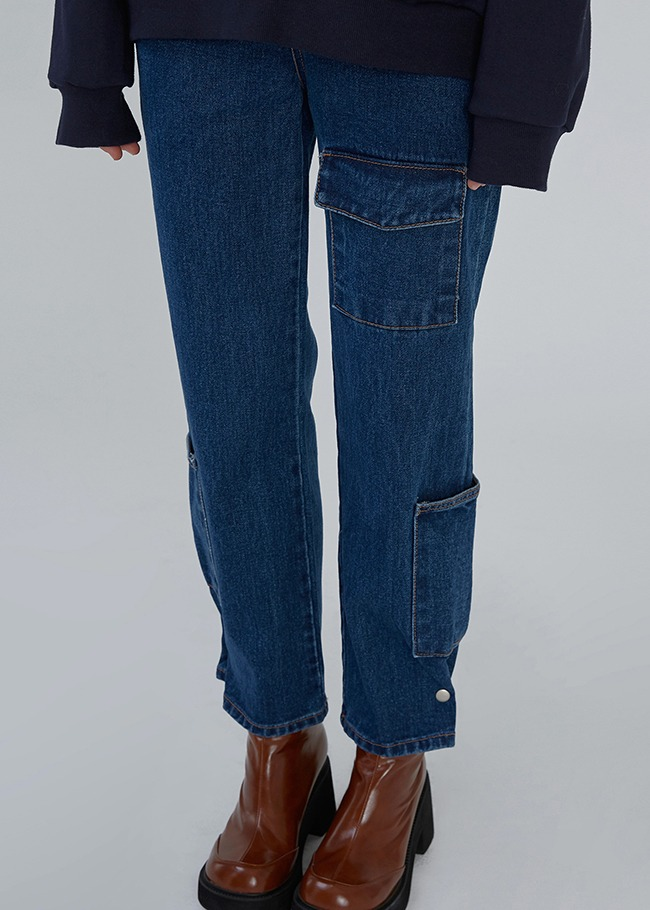 Flap Pocket Blue Denim Jeans
