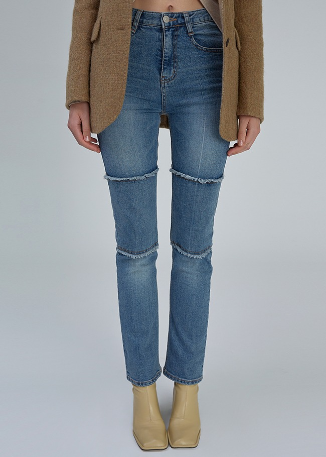 Fringed Leg Straight Jeans