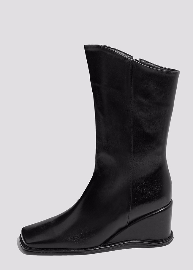 Wedge Heel Calf Boots