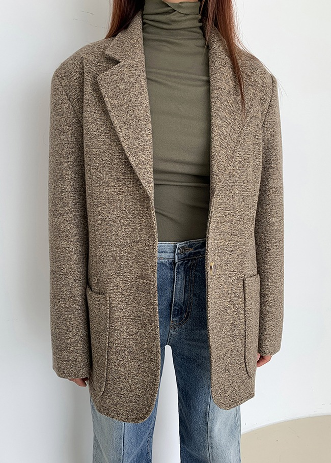 Wool Blend Single-Breasted Jacket