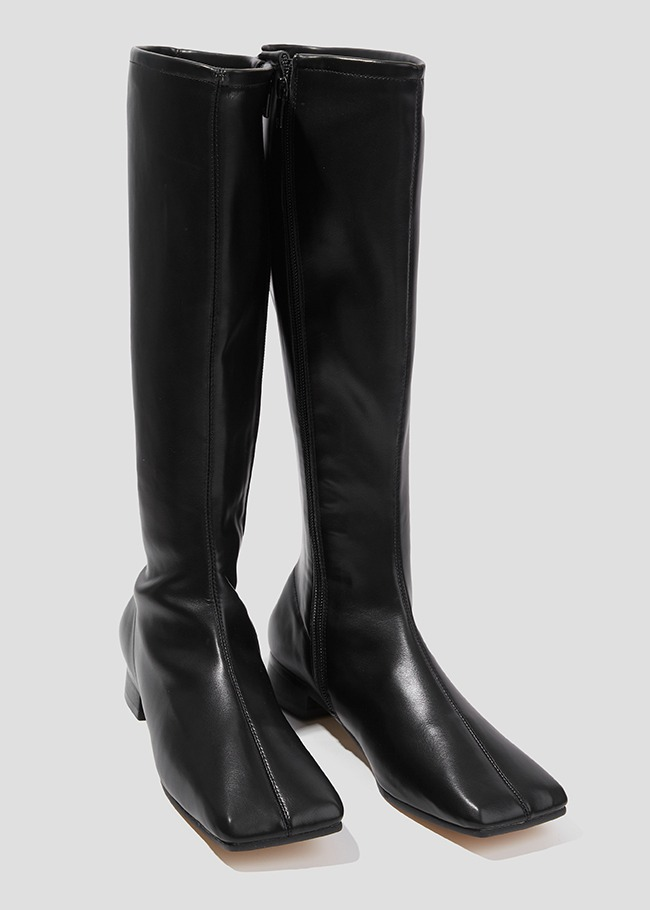 Square Toe Block-Heeled Tall Boots