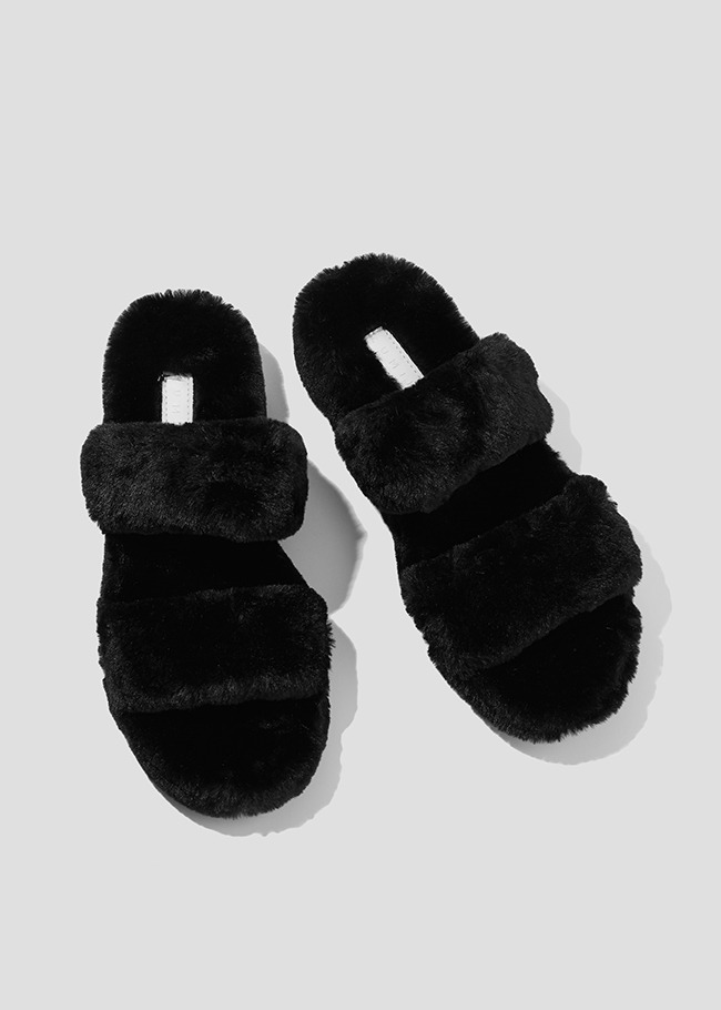 Double Strap Faux Fur Sandals