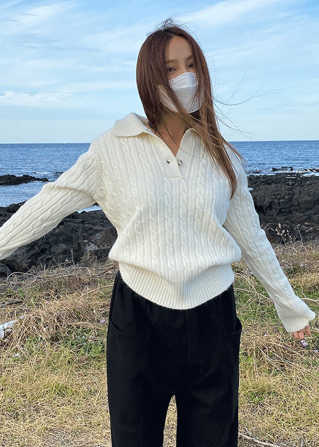 Cable Knit One-Button Collar Top