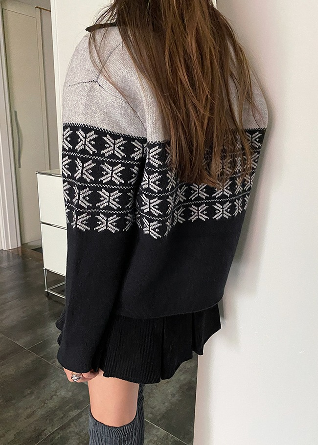 Loose Fit Pattern Contrast Cardigan