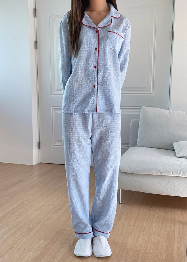 Piping Trim Check Pajama Set