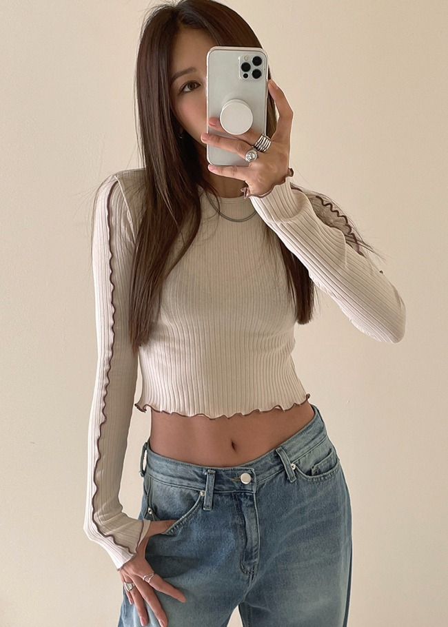 Contrast Wavy Trim Crop T-Shirt