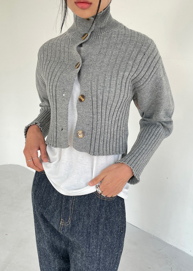 Turtleneck Cropped Cardigan