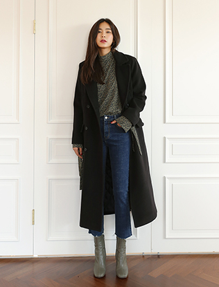 Double-Breasted Classic Long Black Coat