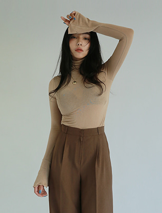 Turtleneck Beige Knit Top