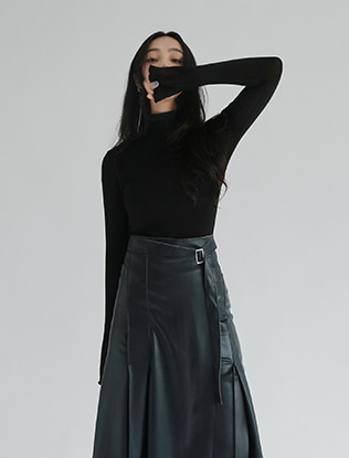 Flared Cuffs High Neck Top