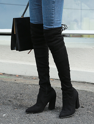 Block Heel Thigh Boots
