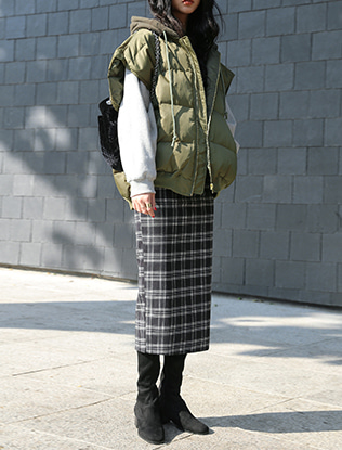 Straight Midi Check Skirt