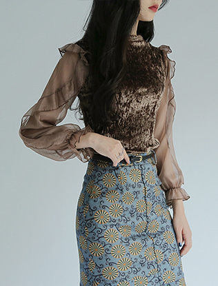Frilly Velvet Blouse